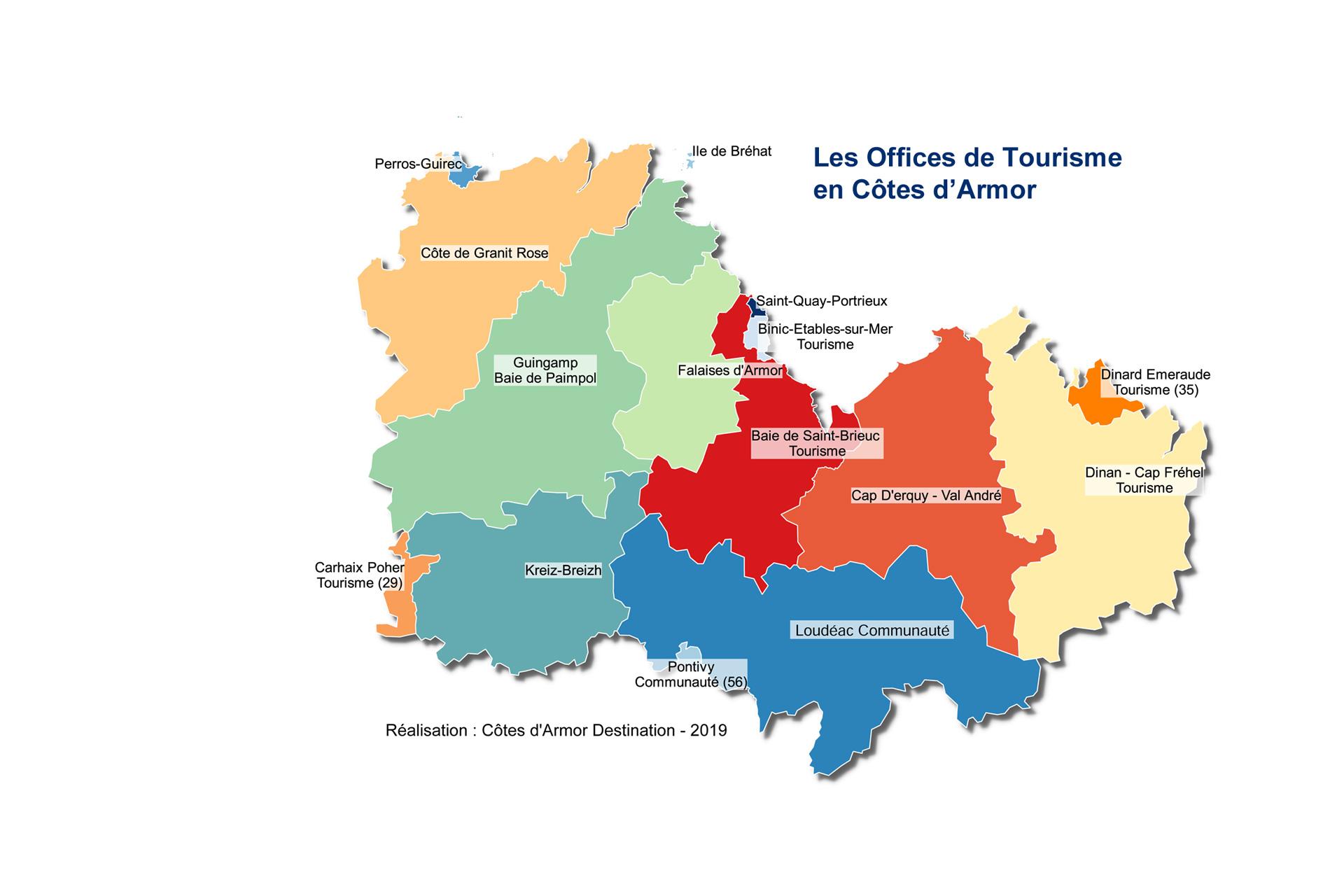 Carte des Offices de Tourisme des Côtes d'Armor