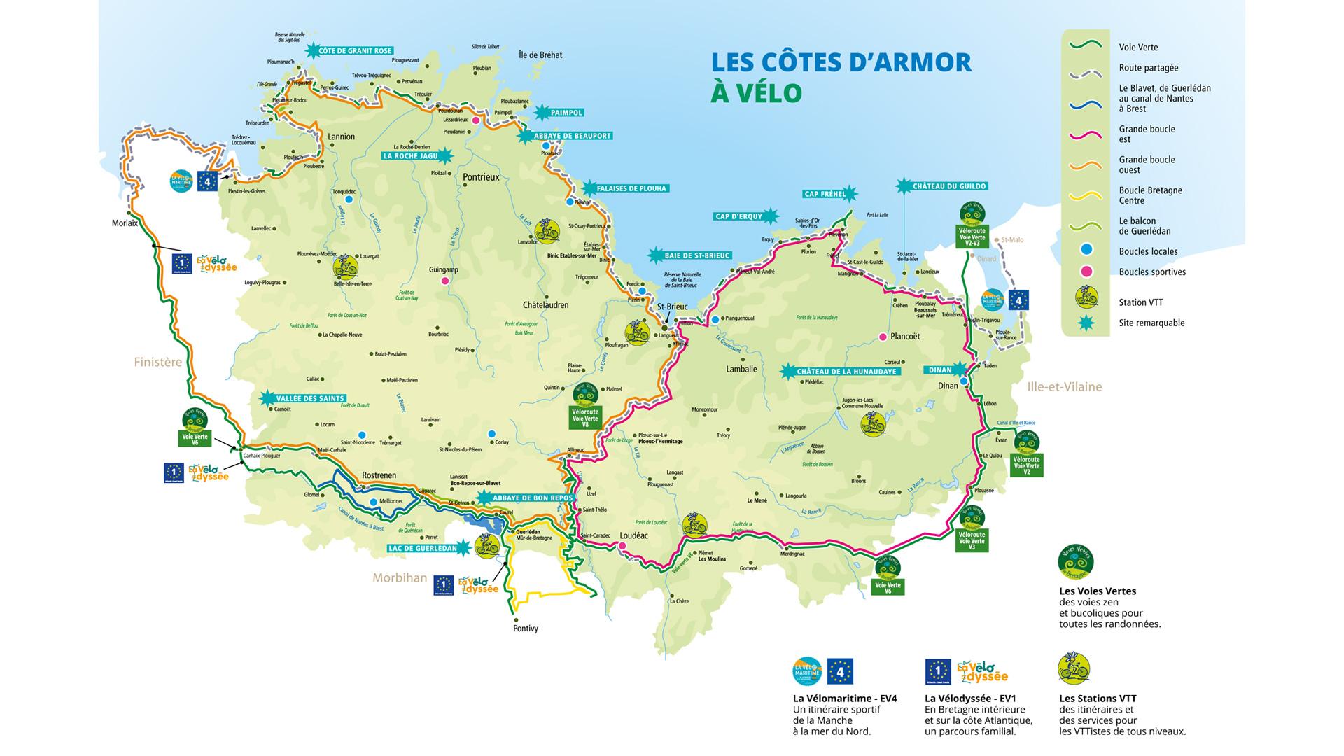 Carte - les Côtes d'Armor à Vélo - les grands itinéraires