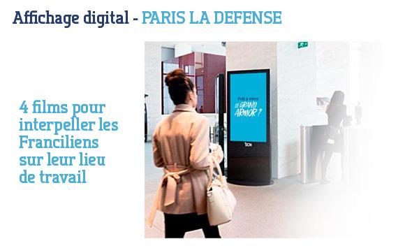 campagne d'affichage digital dans 25 tours de Paris La Défense