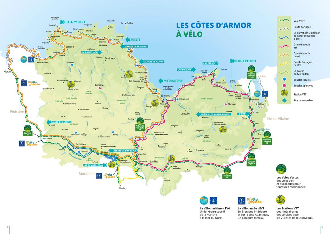 Carte les Côtes d'Armor à Vélo Grands itinéraires