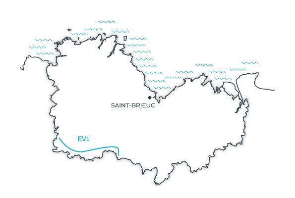 Carte de l'eurovélo 1 en Côtes d'Armor