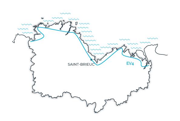 Carte Eurovélo 4 La Vélomartime en Côtes d'Armor