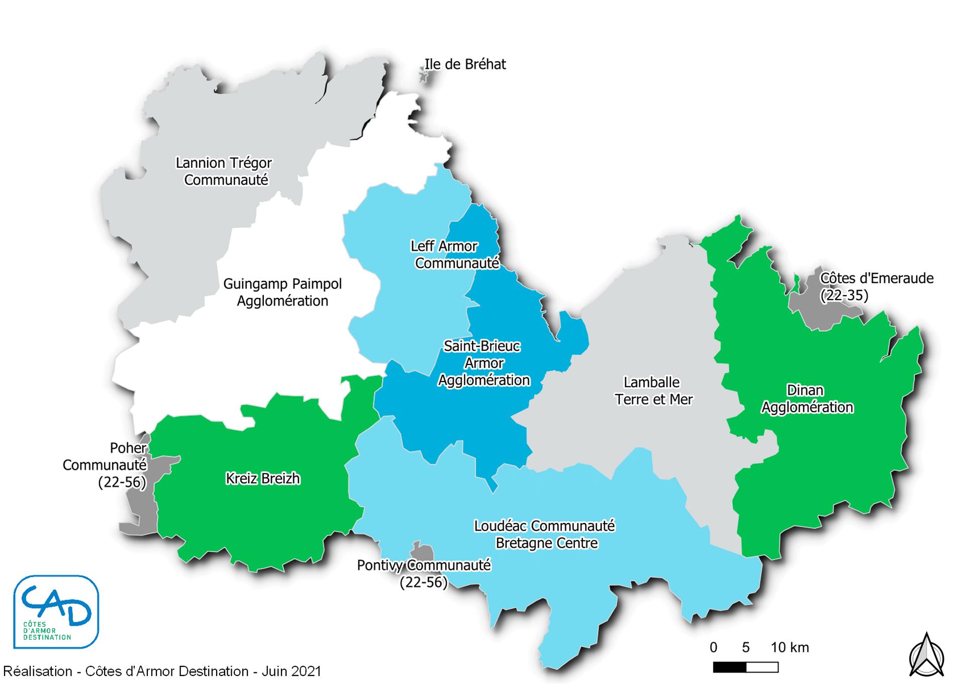 Carte des communautés de communes et d'agglomération des Côtes d'Armor