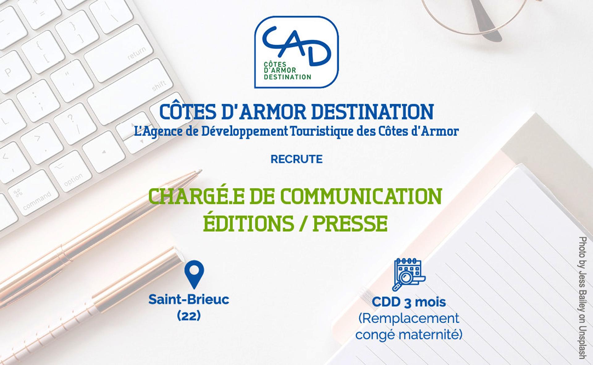 CAD recrute pour un remplacement de congé maternité un(e) Chargé.e de Communication Editions Presse